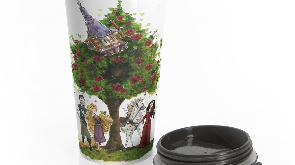 Disney Pixar Rapunzel Watercolor Original Design Stainless Steel Travel Mug