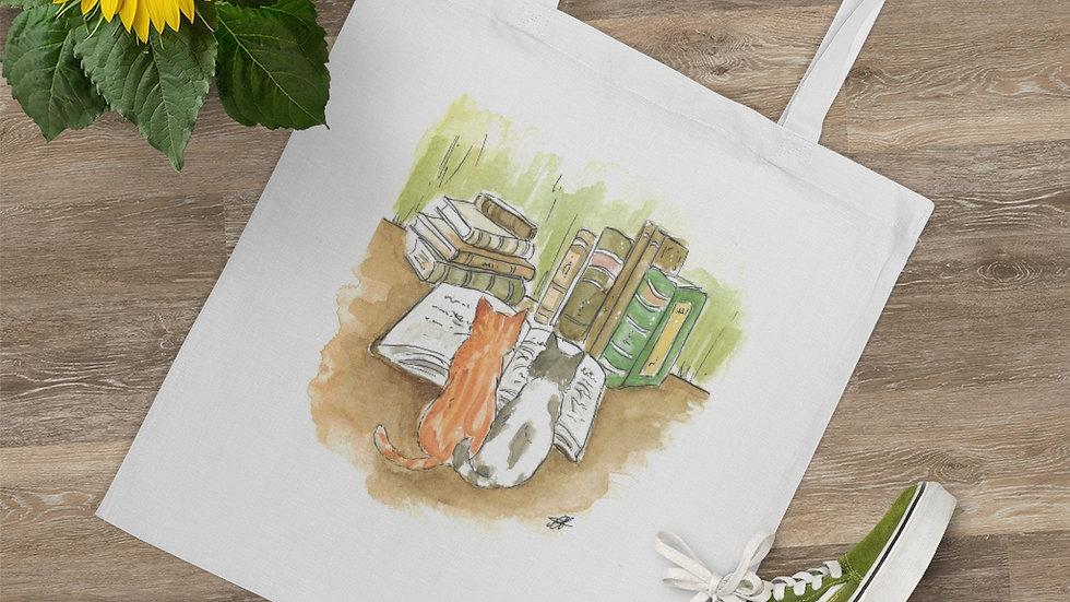 Studying Kittens Watercolor Original Design Tote Bag