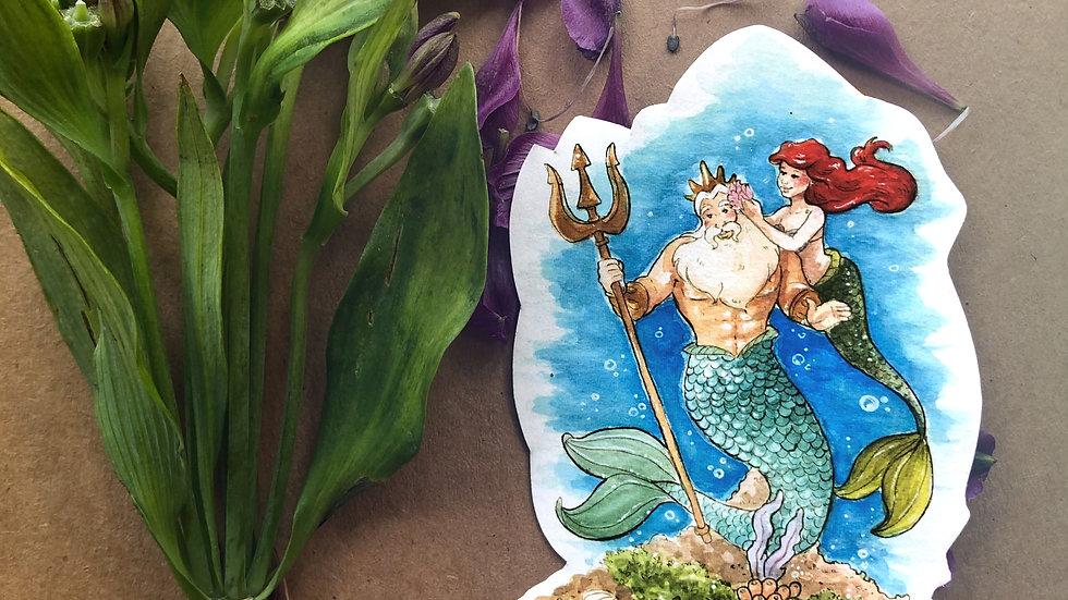Disney Ariel & Triton Original Design Handmade Sticker