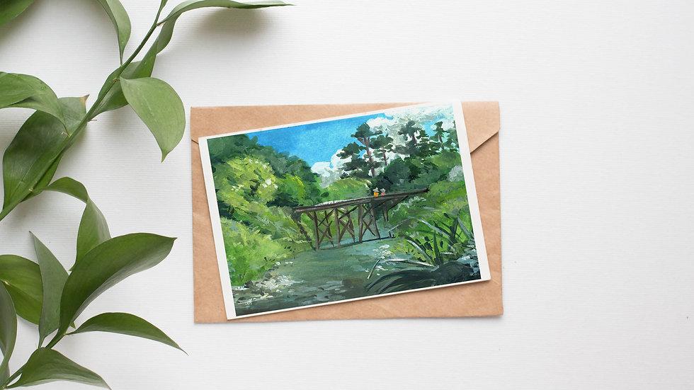 Bridge Across the River Gouaches Original Painting Greetings Card