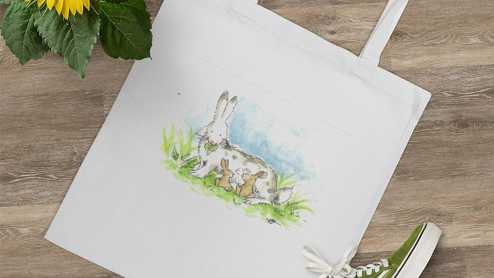 Rabbit Mom Watercolor Original Design Tote Bag