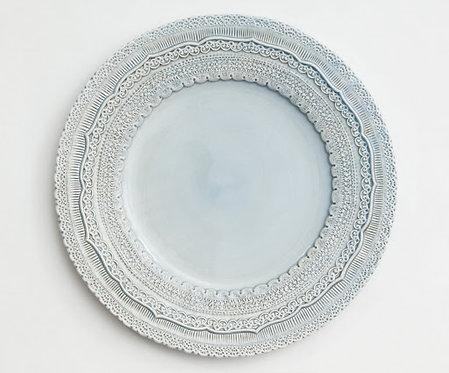 Elderflower Lace Dusty Blue Charger Plate