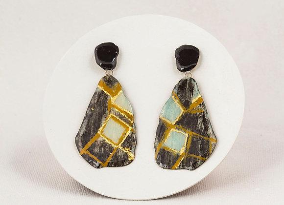 Pendant black and bleu-green earrings -Joan 605