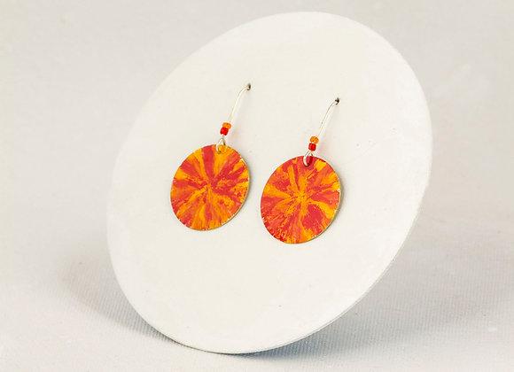 Boucles d'oreilles rondes orange, rouge et jaune-Joan-305-P
