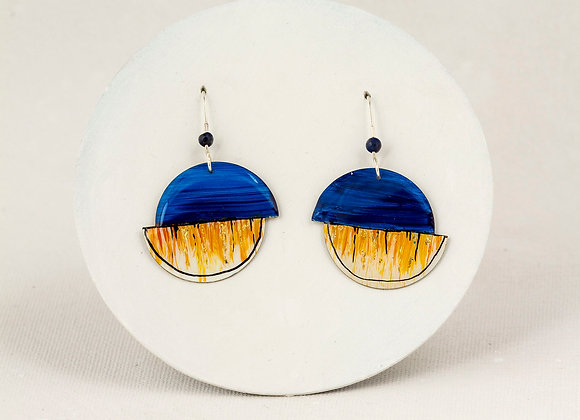 Blue & ocher earring - Joan-815
