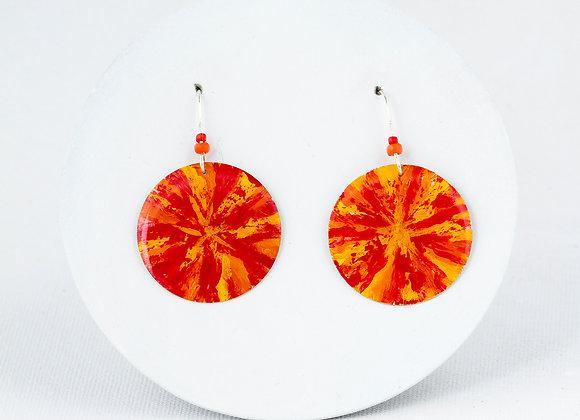 Orange & red First Nation earrings - Joan-305