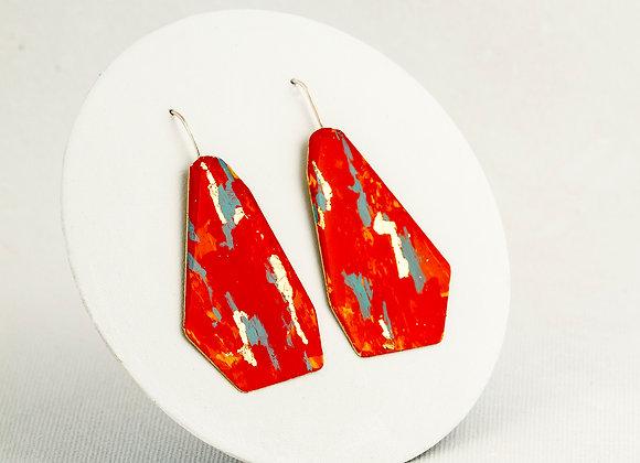 Boucles d'oreilles pendantes orange et turquoise- Joan-428