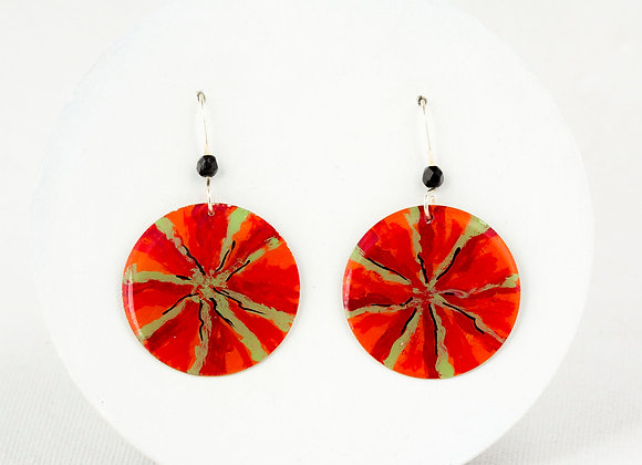 Red and green First Nation earrings - Joan-736