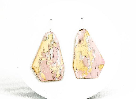 Pink and blue green pendant earrings Joan-119
