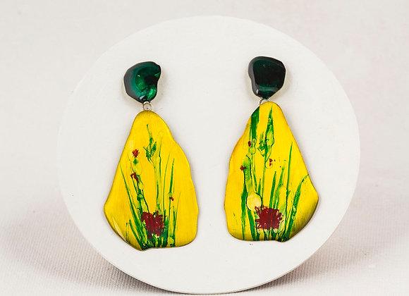 Yellow pendant earrings - Joan-715