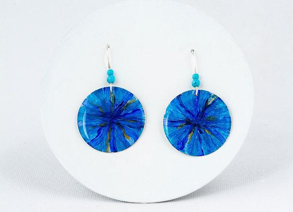 Boucles d'oreilles pendantes rondes- Bleues