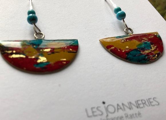 Half moon earrings fauvism colors - Joan-818