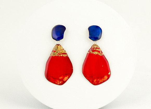 Boucles d'oreilles pendantes bleu et rouge