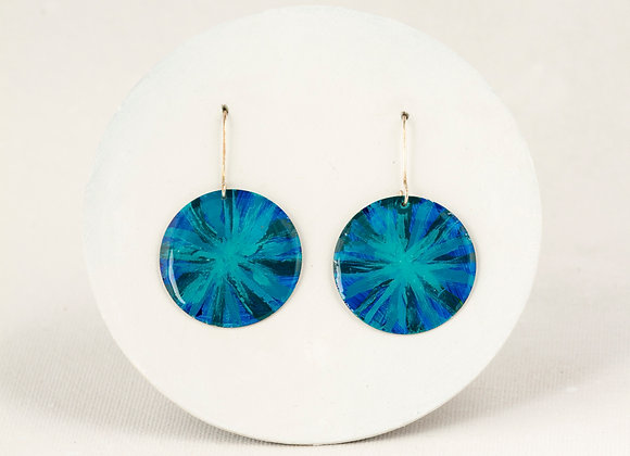 Turquoise and blue First Nation earrings - Joan-765