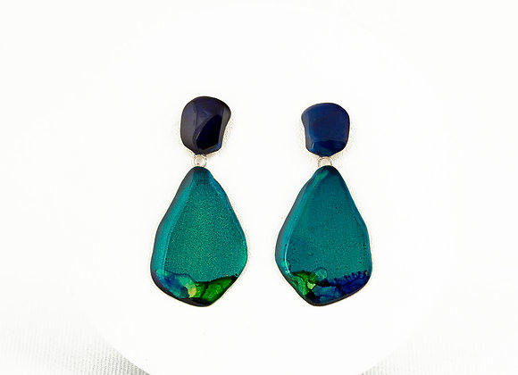 Turquoise& blue pendant earrings-Joan-779