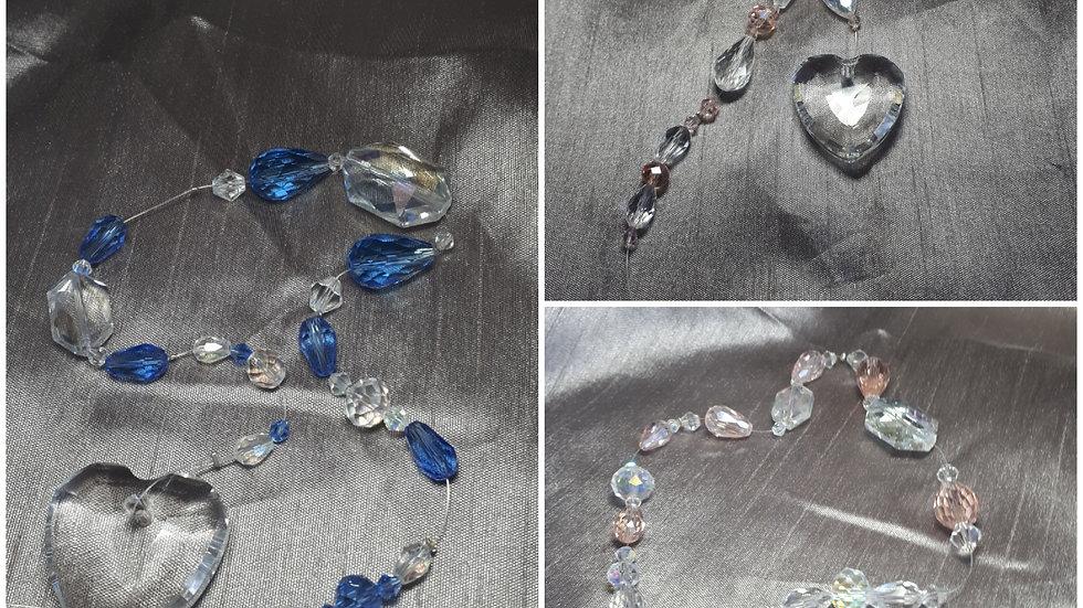 Handmade glass heart suncatchers