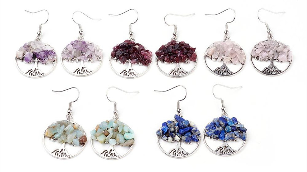 Handmade tree of life crystal chip earrings