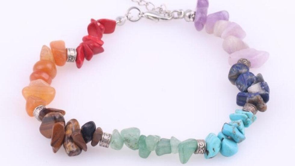 Handmade natural crystal chip chakra bracelet