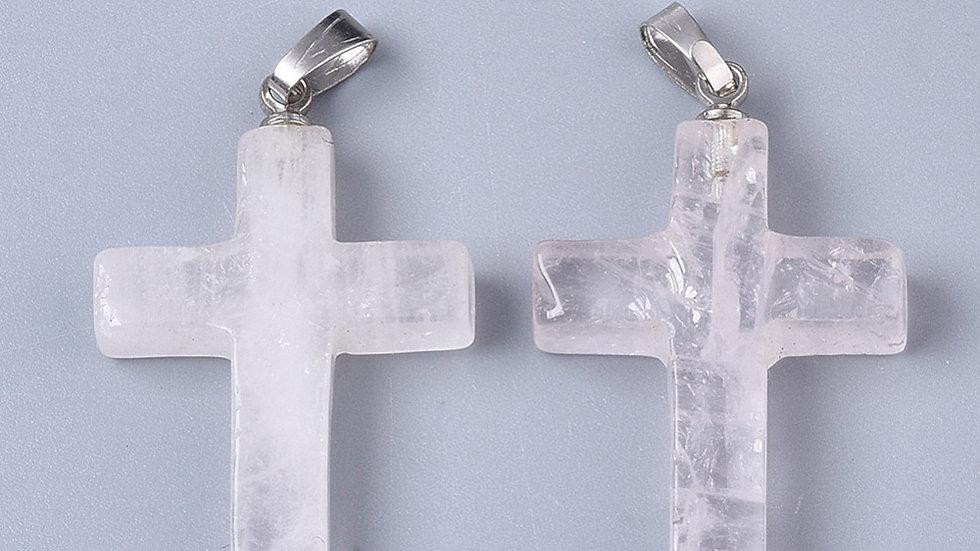 Handmade natural clear quartz cross pendant