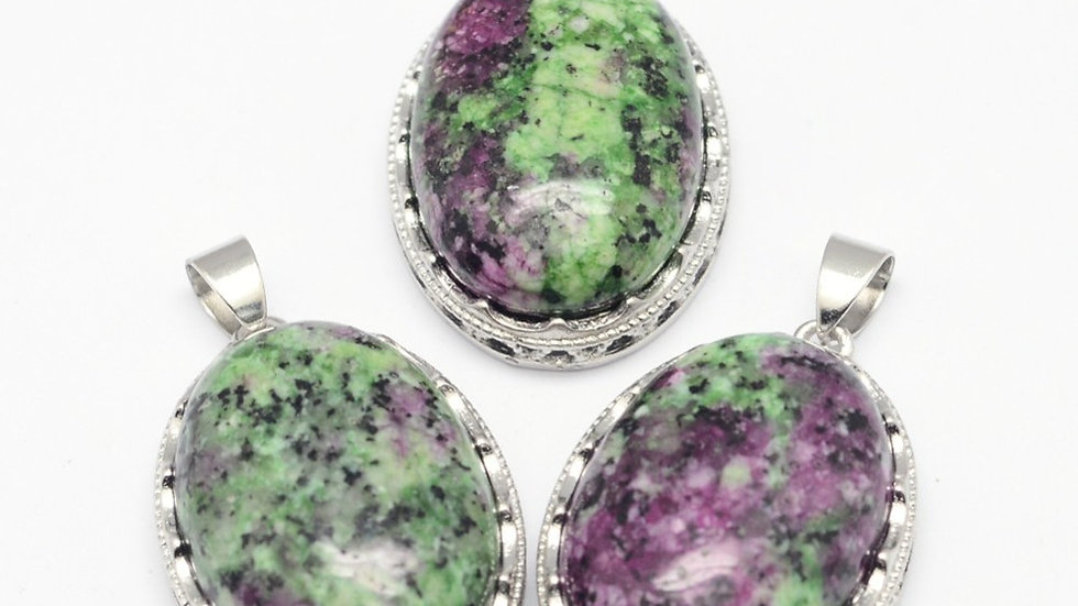 Handmade Natural ruby in zoisite oval pendant