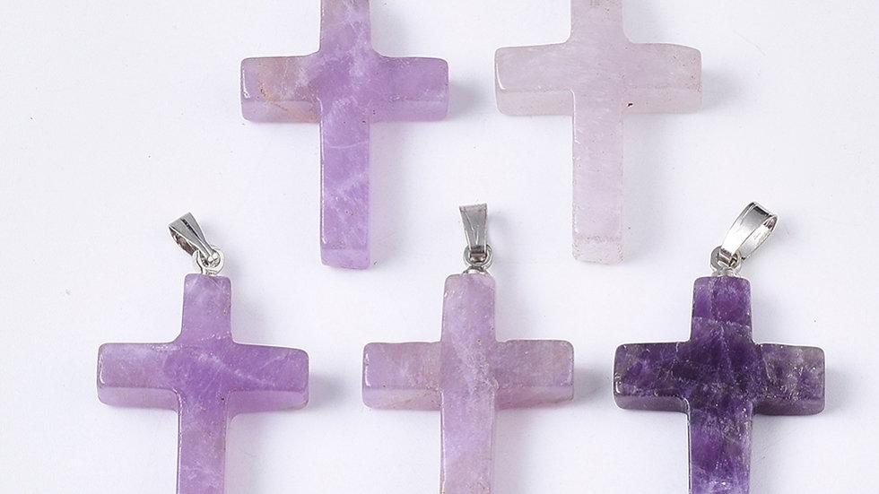 Handmade natural amethyst cross