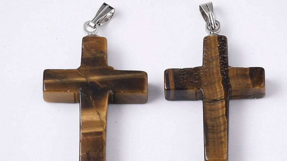Handmade natural tigers eye cross pendant