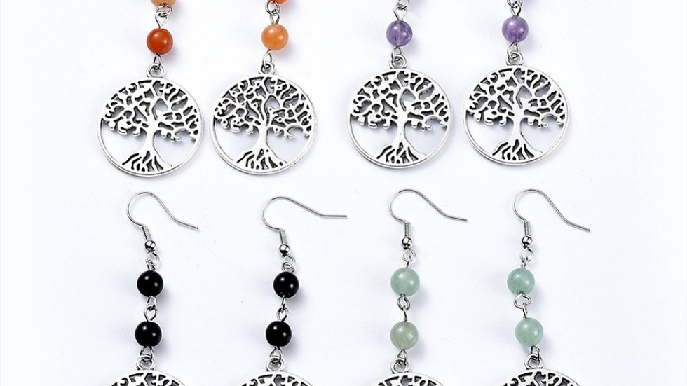 Handmade natural crystal Tree of life drop earrings