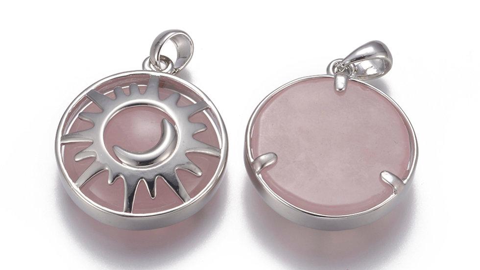 Handmade natural rose quartz sun and moon pendant