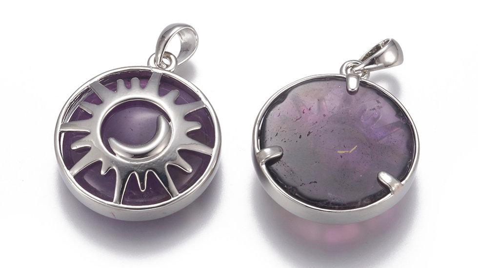 Handmade natural amethyst sun and moon pendant