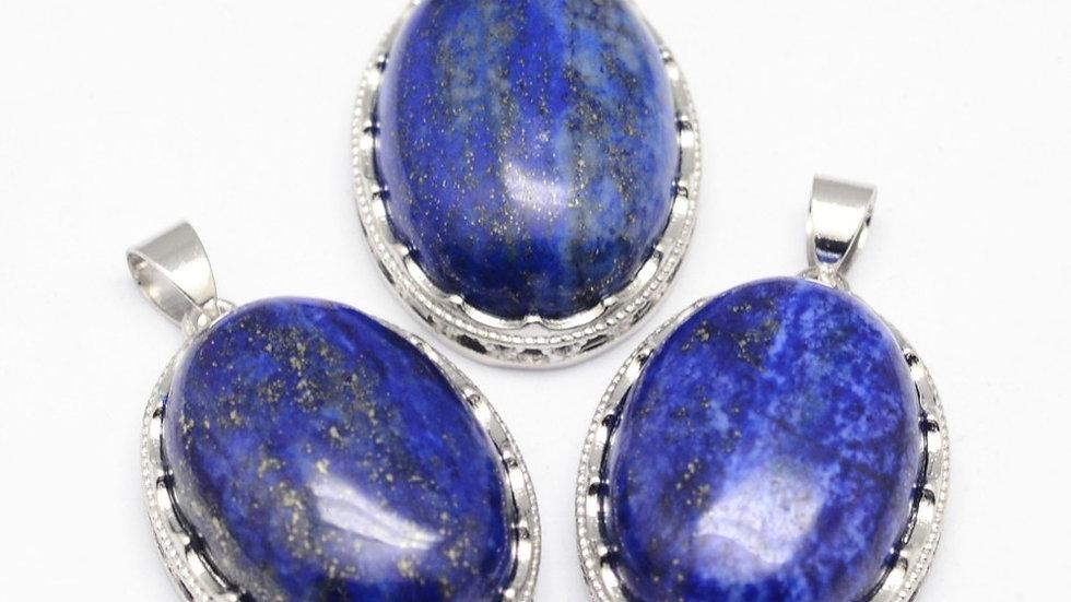 Handmade natural lapis Lazuli oval pendant