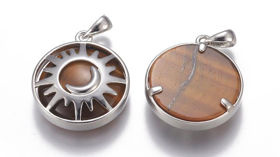 Handmade natural tigers eye sun and moon pendant