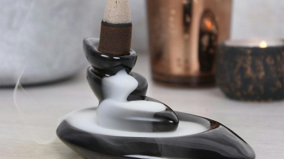 Small pebbles backflow incense burner