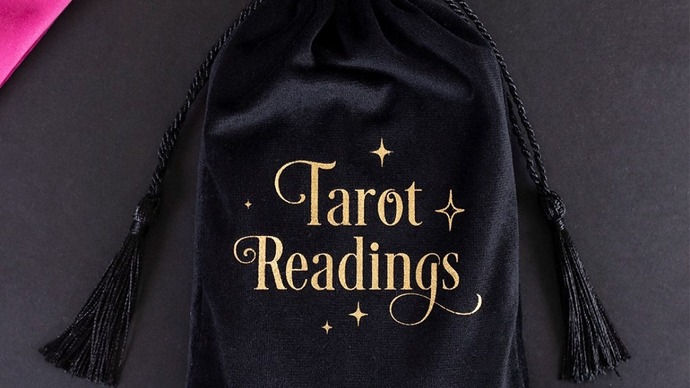 BLACK TAROT READINGS DRAWSTRING POUCH