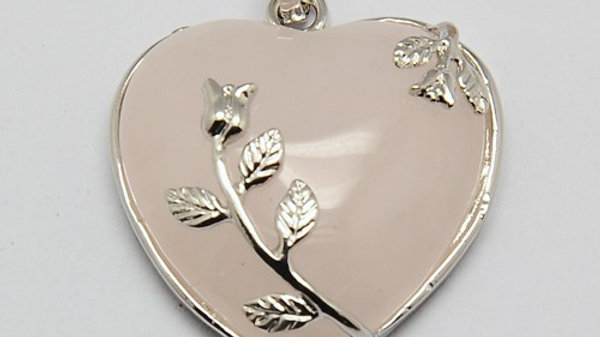 Natural Rose Quartz heart pendant