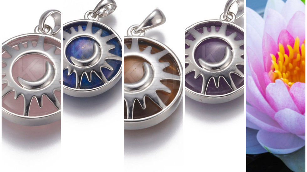 Crystal sun and moon pendant