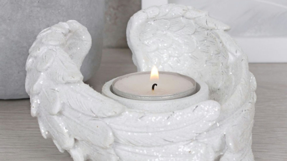 GLITTER ANGEL WING CANDLE HOLDER