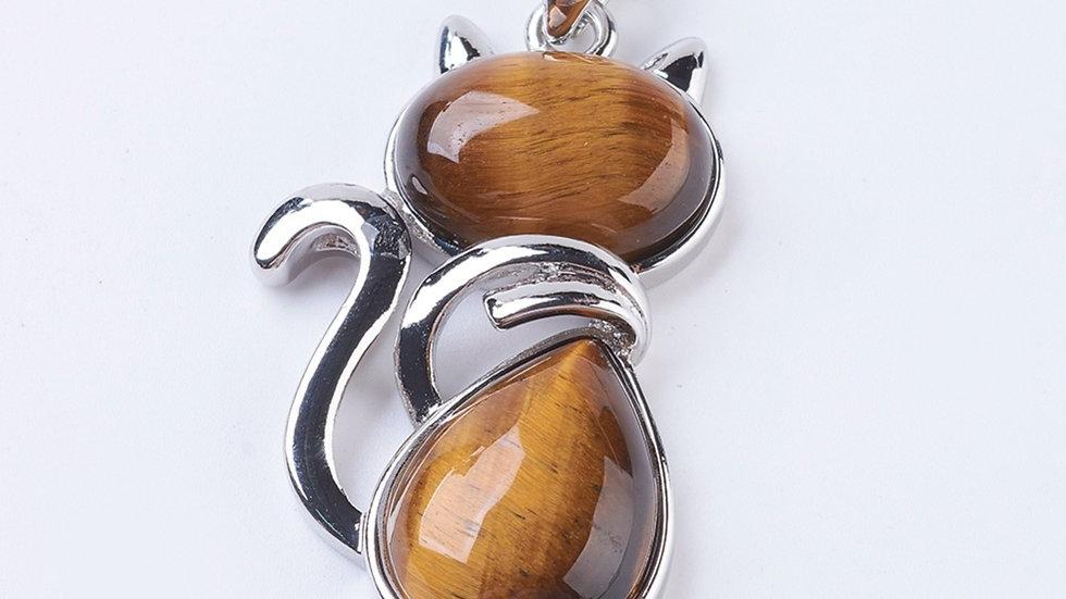 Natural tigers eye cat pendant
