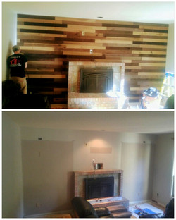 Before and after plank wall