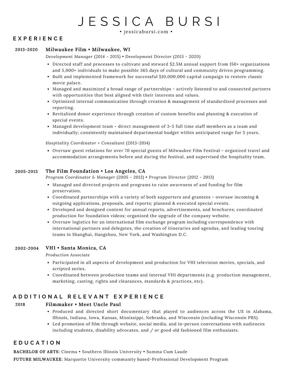Jessica Bursi Resume - 2020 (Web version