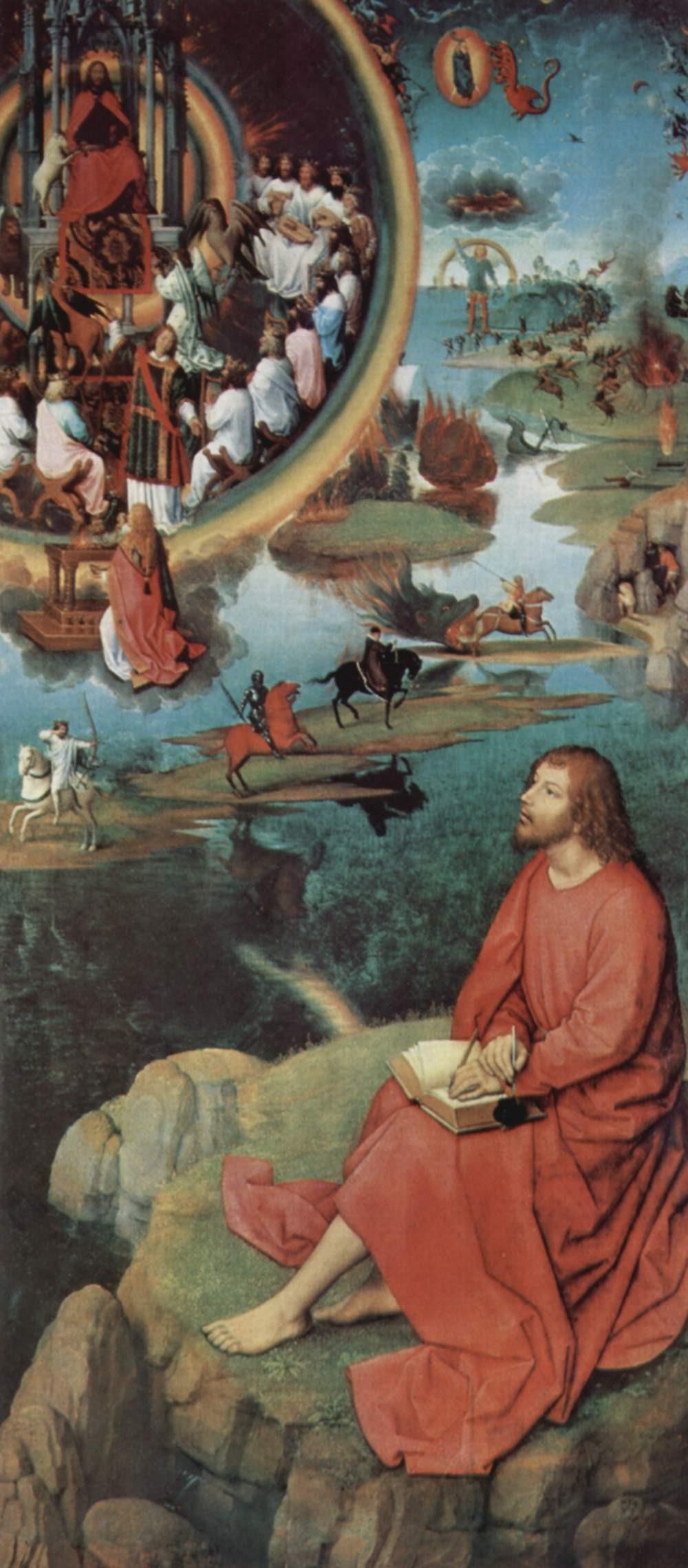 Juan Recibe la Revelación del Apocalipsis del pintor Hans Memling