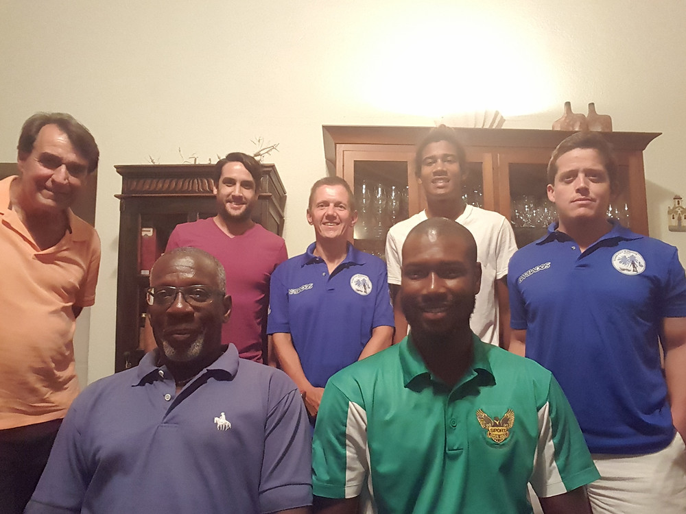 Front from left: David Eastmond (Vice President) and Nevin Roach (President). Back from left: Peter Gilkes (Member at Large), Daniel Hatch (Treasurer), Ralf Luther (Member at Large), Nicholas Eastmond (Secretary) and Matthew Lewis (Member at Large)