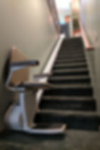 stair chair lift with woman