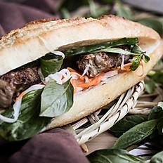 411  Lemongrass grilled beef basil banh mi