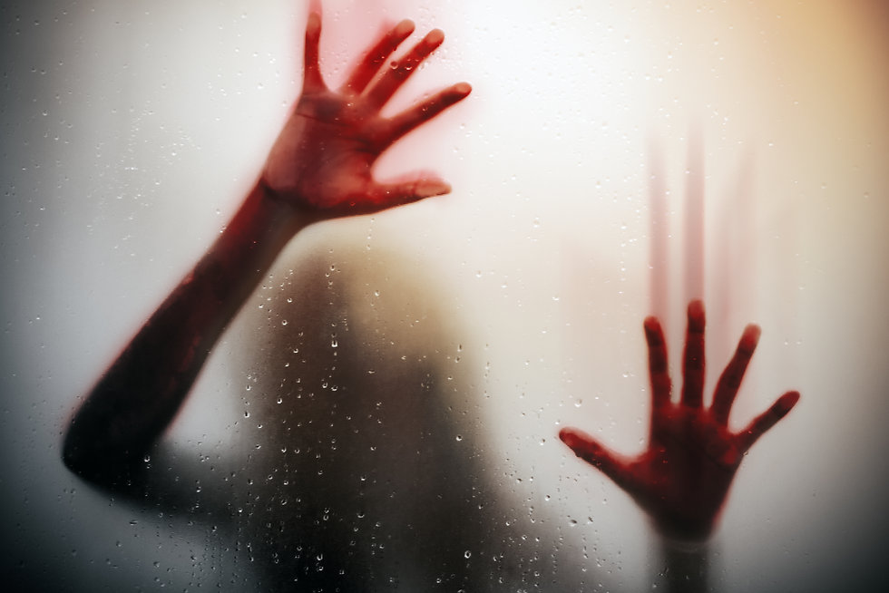 silhouette  scared girl hand with red bl