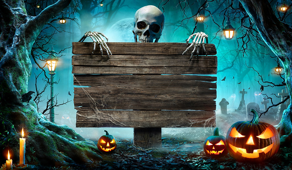 Halloween Party Card - Pumpkins And Skeleton In Graveyard At Night With Wooden Board .jpg