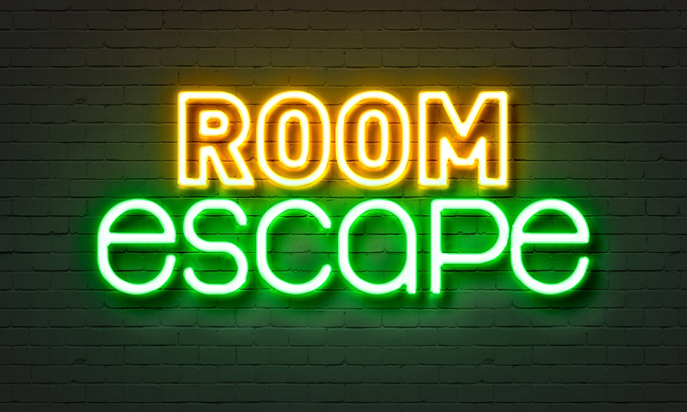 Room escape neon sign on brick wall back