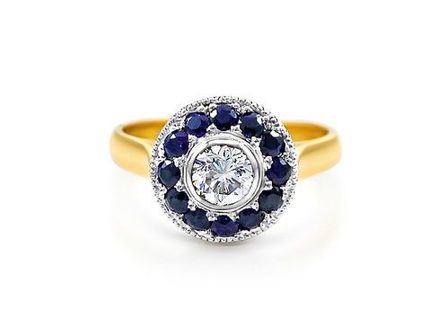 18ct Gold Diamond & Sapphire Cluster Ring