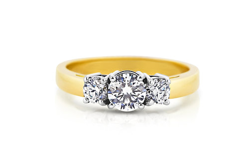 18ct Yellow Gold Trilogy Diamond Engagement Ring