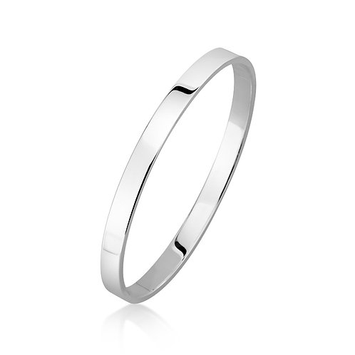Sterling Silver Flat Bangle 6mm Wide
