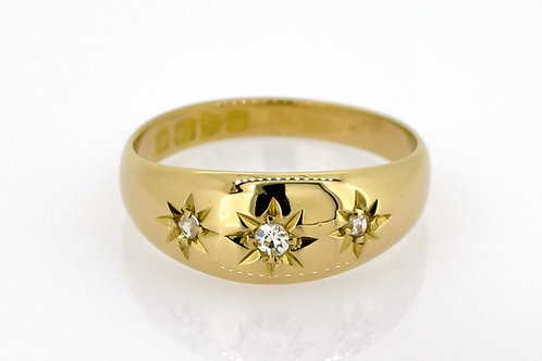 Antique 18ct Gold & Diamond Gypsy Ring - 1914
